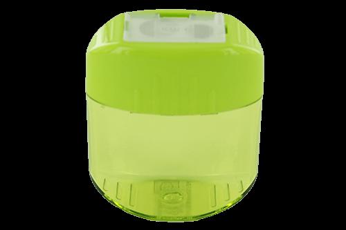 Magnesiumanspitzer mit Kunststoffbehälter und Staubverschluss.