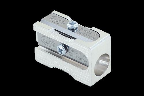 Magnesium Bleistiftspitzer, Blockform mit Fingermulde, 2 Ersatzmesser