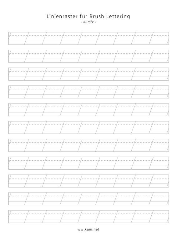 Brush Lettering Linienraster für kleine Pinsel in kursiv
