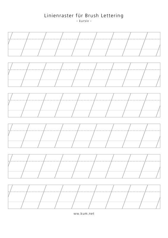 Brush Lettering Linienraster für große Pinsel in kursiv
