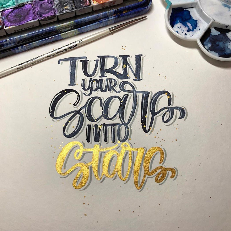Brush Lettering Spruch: Turn your scars into stars