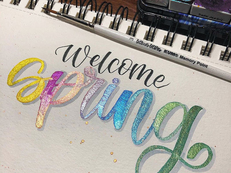 Brush Lettering Spruch: Welcome spring