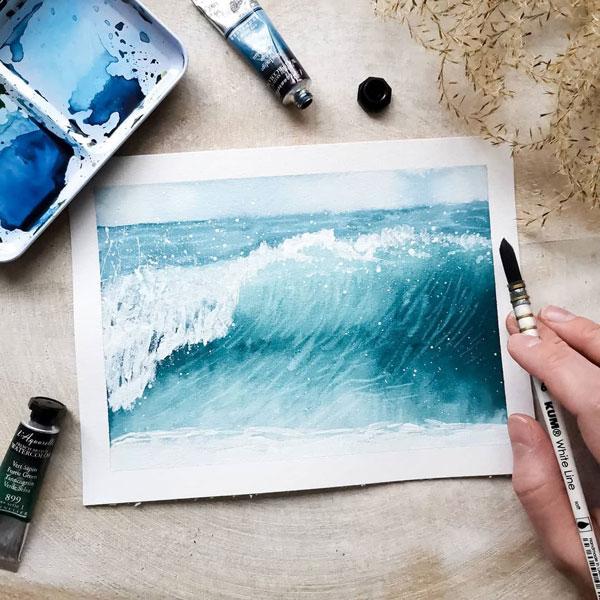 Ocean Aquarellbild