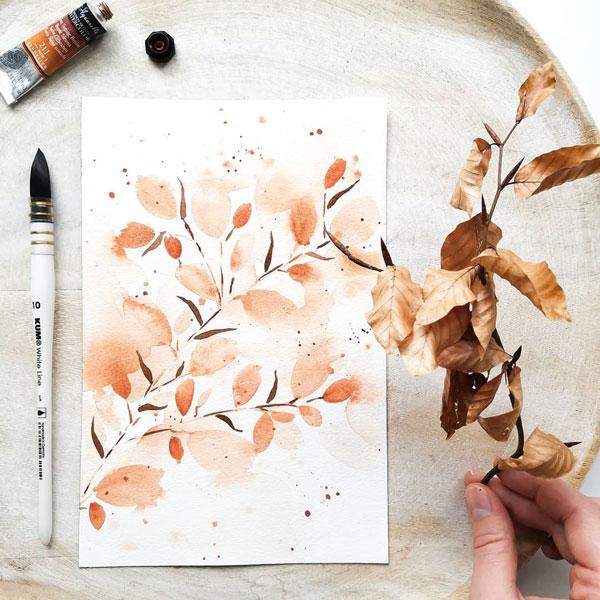Orange Loose Watercolor Flowers